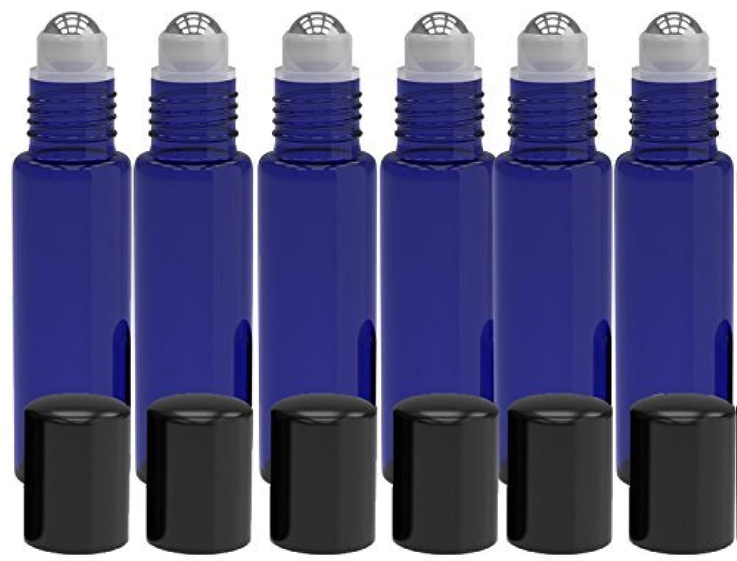 タイピスト援助両方6 Pack - Empty Roll on Glass Bottles [STAINLESS STEEL ROLLER] 10ml Refillable Color Roll On for Fragrance Essential...