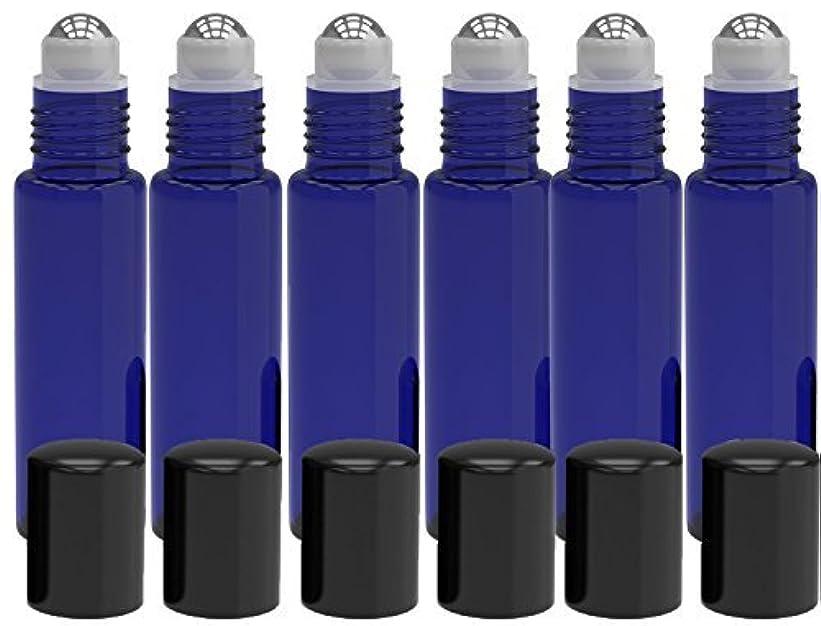無視する困惑した長老6 Pack - Empty Roll on Glass Bottles [STAINLESS STEEL ROLLER] 10ml Refillable Color Roll On for Fragrance Essential...