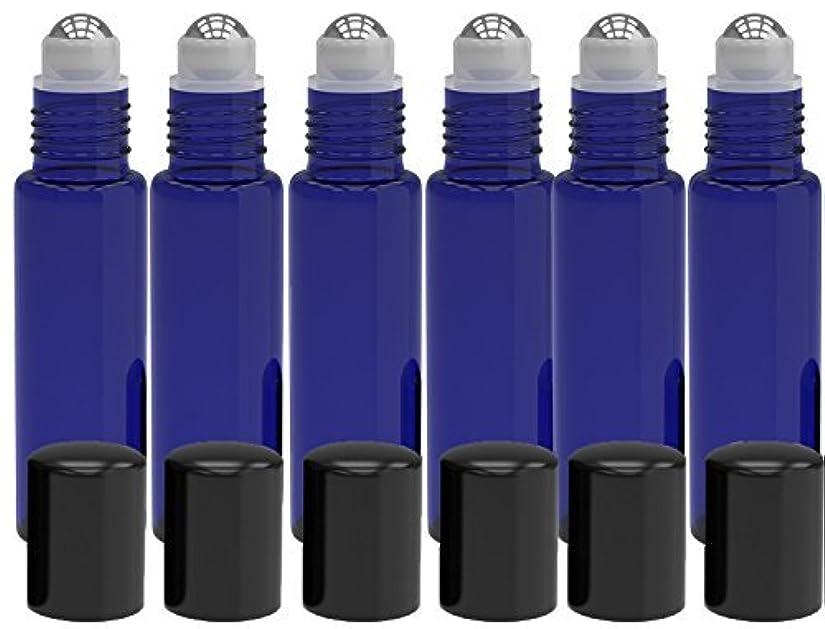 麻酔薬ポジション世紀6 Pack - Empty Roll on Glass Bottles [STAINLESS STEEL ROLLER] 10ml Refillable Color Roll On for Fragrance Essential...