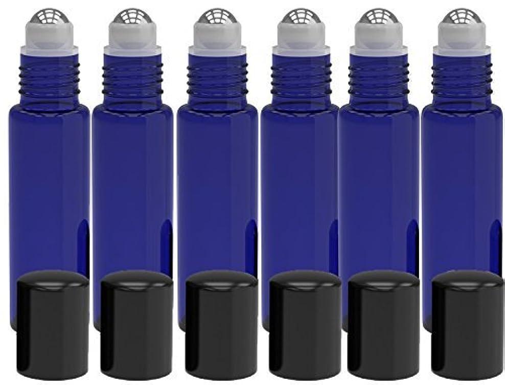 中央値アルコール磁器6 Pack - Empty Roll on Glass Bottles [STAINLESS STEEL ROLLER] 10ml Refillable Color Roll On for Fragrance Essential...