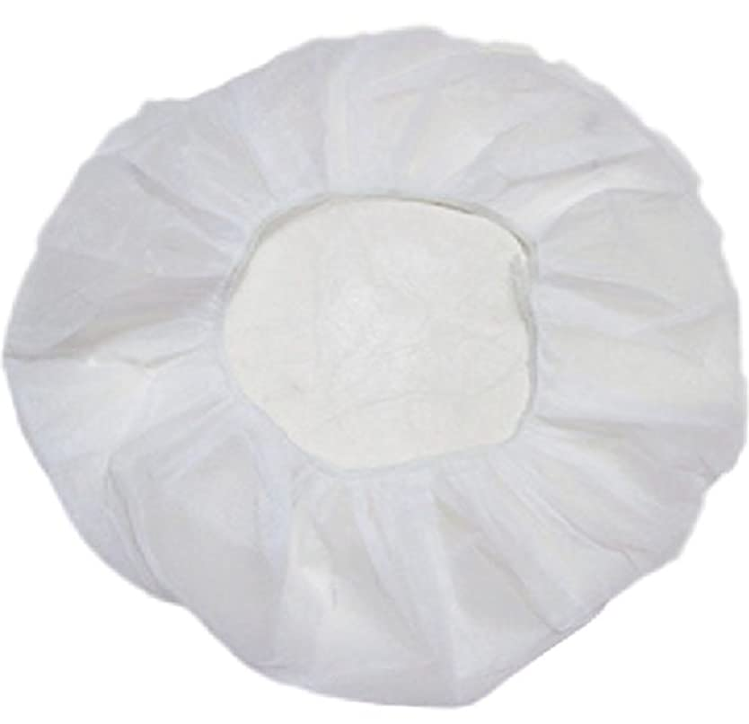 サリー以内に猫背業務用 不織布 ヘアキャップ 使い捨て 衛生 食品 加工 工場 大きめ (100個, 白)