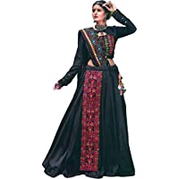 Exotic India Pirate-Black Lehenga Choli from Gujarat with Embroidered Long Patch in Multicolor Thread and Mirrors