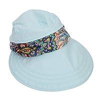 HIZLJJ 女性レディつばキャップバイザー帽子UVプロテクションサマーサンハットSunバイザーキャップUPF 50 UVプロテクション取り外し可能なネックプロテクターフード付き旅行用ホリデービーチサイクリングヘッドウェア (色 : A)
