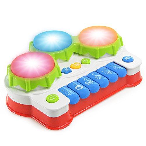 NextX 楽器おもちゃ 赤ちゃんの知育玩具 キーボードとドラム 音と光を楽しめる 4つのモード搭載 多機能音楽おもちゃ