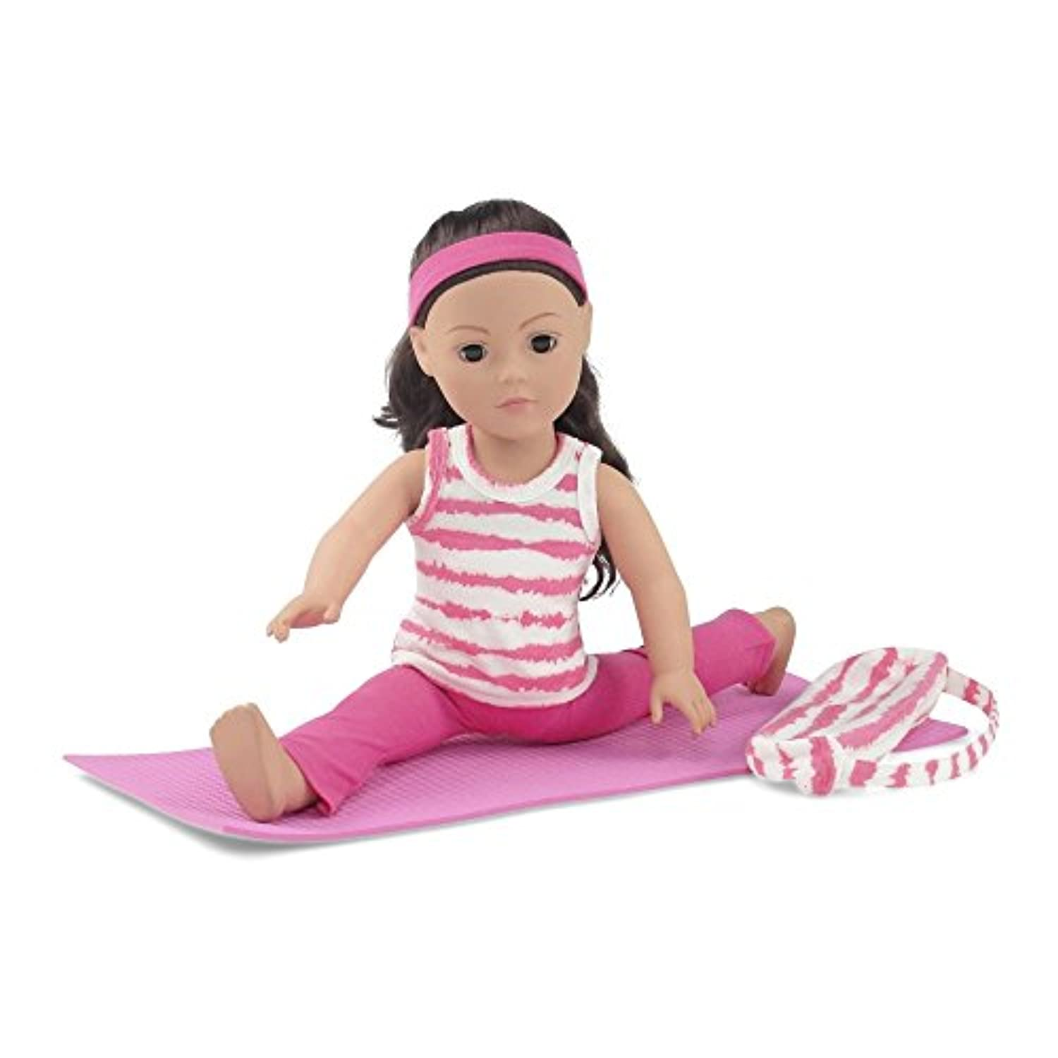 18 Inch Doll Clothes | Pink and White Gymnastics / Yoga Exercise Outfit, Includes Flared Yoga Pants, Animal Print