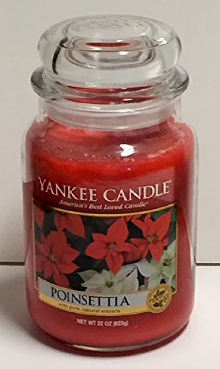 微妙理論的月Yankee Candleポインセチア、Festive香り Large Jar Candles レッド B015S91CGI