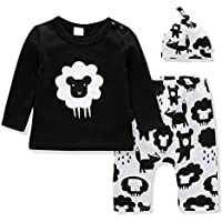 Ajiababy Newborn Baby Unisex Clothes Long Sleeve T-Shirt Hat Pants Set 0-18 Month Boy Girls Outfits