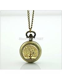 メモリーポケットウォッチロケットのネックレスヴィンテージの懐中時計シルバーネックレスをフローティング生命の木