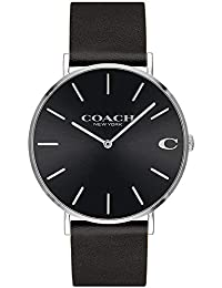 COACH Charles 14602149 メンズウォッチ 41mm コーチ チャールズ アナログ 男性用腕時計 レザーベルト ビジネスウォッチ シンプル 防水 軽量 薄型 メンズ ブラック 黒色 [並行輸入品]