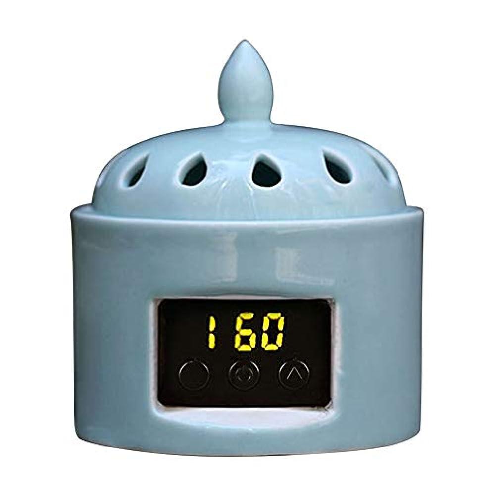 モジュール年金告白するアロマディフューザー LCD温度制御 香炉、 電気セラミック 寒天 エッセンシャルオイル アロマテラピーディフューザー、 ホーム磁器、 バルコニー、 ポーチ、 パティオ、 ガーデンエッセンシャル セラミック電気香炉