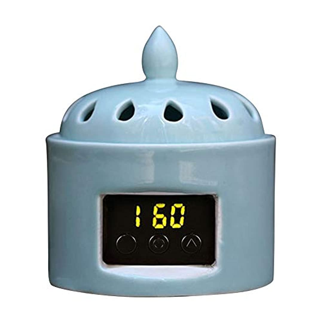 位置づけるマイクロインドアロマディフューザー LCD温度制御 香炉、 電気セラミック 寒天 エッセンシャルオイル アロマテラピーディフューザー、 ホーム磁器、 バルコニー、 ポーチ、 パティオ、 ガーデンエッセンシャル セラミック電気香炉