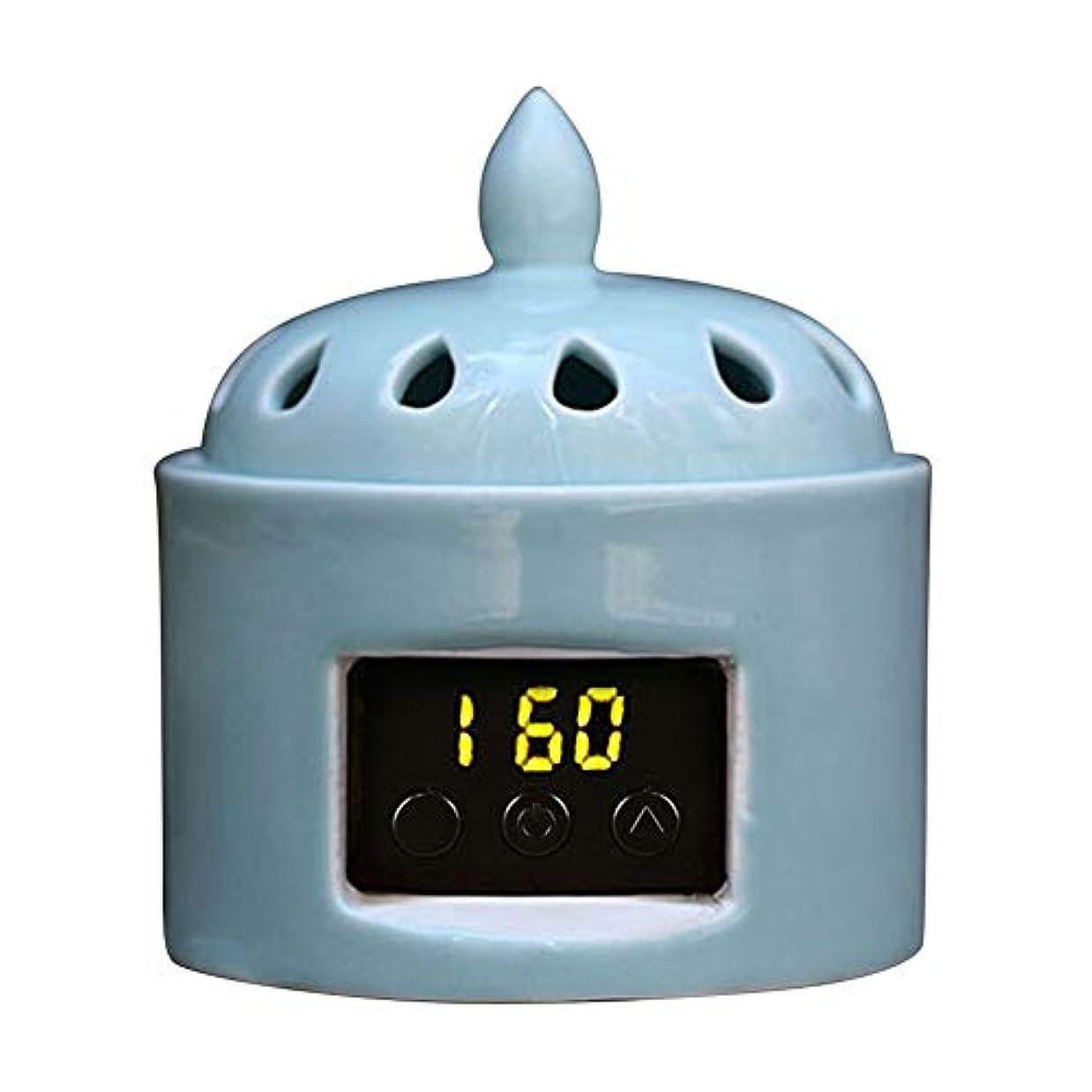 ドロップ眠りウェイドアロマディフューザー LCD温度制御 香炉、 電気セラミック 寒天 エッセンシャルオイル アロマテラピーディフューザー、 ホーム磁器、 バルコニー、 ポーチ、 パティオ、 ガーデンエッセンシャル セラミック電気香炉