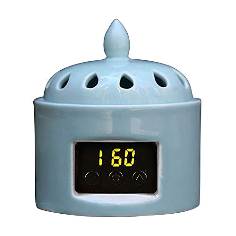 一時停止エクステントスパイアロマディフューザー LCD温度制御 香炉、 電気セラミック 寒天 エッセンシャルオイル アロマテラピーディフューザー、 ホーム磁器、 バルコニー、 ポーチ、 パティオ、 ガーデンエッセンシャル セラミック電気香炉