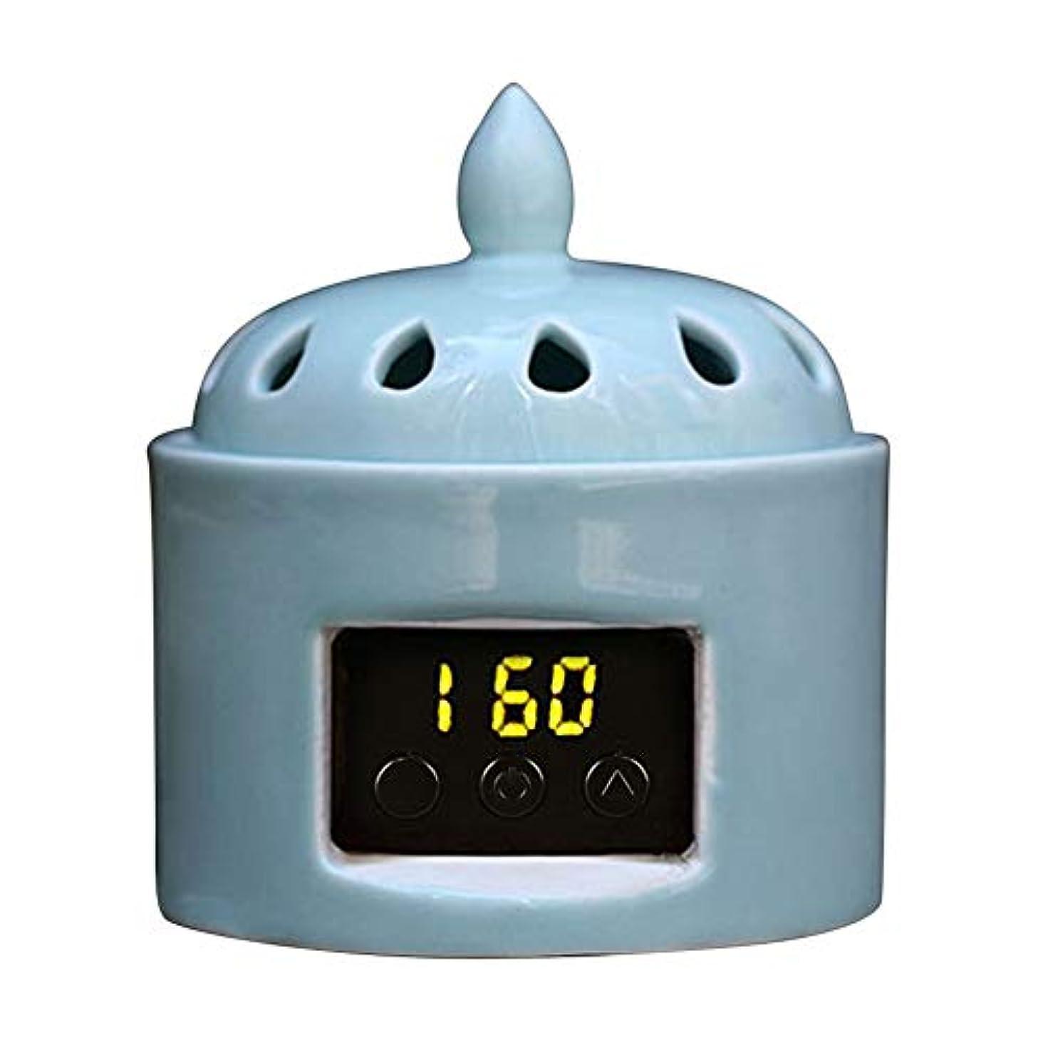 キラウエア山幸運なことにタヒチアロマディフューザー LCD温度制御 香炉、 電気セラミック 寒天 エッセンシャルオイル アロマテラピーディフューザー、 ホーム磁器、 バルコニー、 ポーチ、 パティオ、 ガーデンエッセンシャル セラミック電気香炉