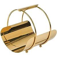 マガジンラック デスクトップマガジンラック フロア本棚 メタルブックバスケット ベッドルーム ベッドサイド ファッション 小型 本棚 35 * 35 * 37cm ゴールド