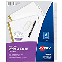 Big Tab Write-On Dividers w/Erasable Laminated Tabs, White, Set of 8 (並行輸入品)