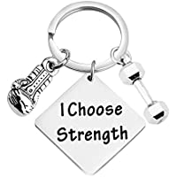 CHOORO Personal Trainer Gift I Choose Strength Keychain Bodybuilding Jewelry Weight Lifting Gift Fitness Jewelry Dumbbell Boxing Charm Key Ring