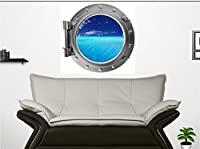 24 Port Scape Instant Sea Window View SAILBOATS #2 Sail boat SILVER Porthole Wall Decal Sticker Graphic Mural Home Kids Game Room Art Decor NEW by Stickit Graphix