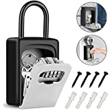 Tobeape Key Lock Box with Hook, Portable Wall Mount Key Storage Box with 4 Digit Resettable Code Combination& Slide Cover for Home Hotel School Company Spare Keys