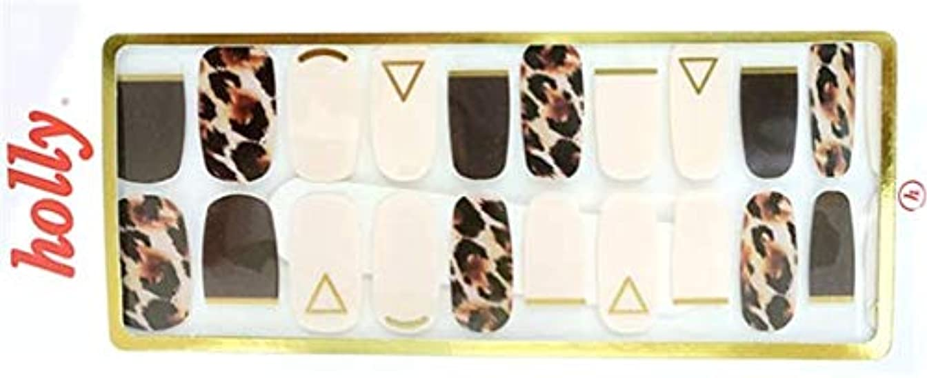 ブレイズ核メモ[NJELL PICK] Leopard&French(レオパード&フレンチ) - ダークブラウン、アイボリー、フレンチネイル、ゴールドライン、レオパードプリント - ネイルラップ、マニキュアストリップ、マニキュアシール