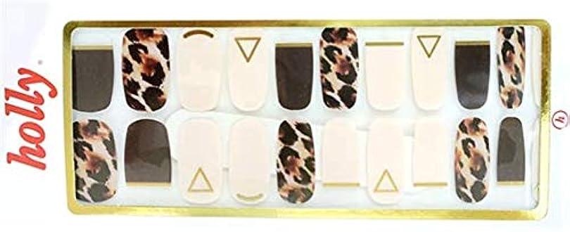 頼るバース葉っぱ[NJELL PICK] Leopard&French(レオパード&フレンチ) - ダークブラウン、アイボリー、フレンチネイル、ゴールドライン、レオパードプリント - ネイルラップ、マニキュアストリップ、マニキュアシール