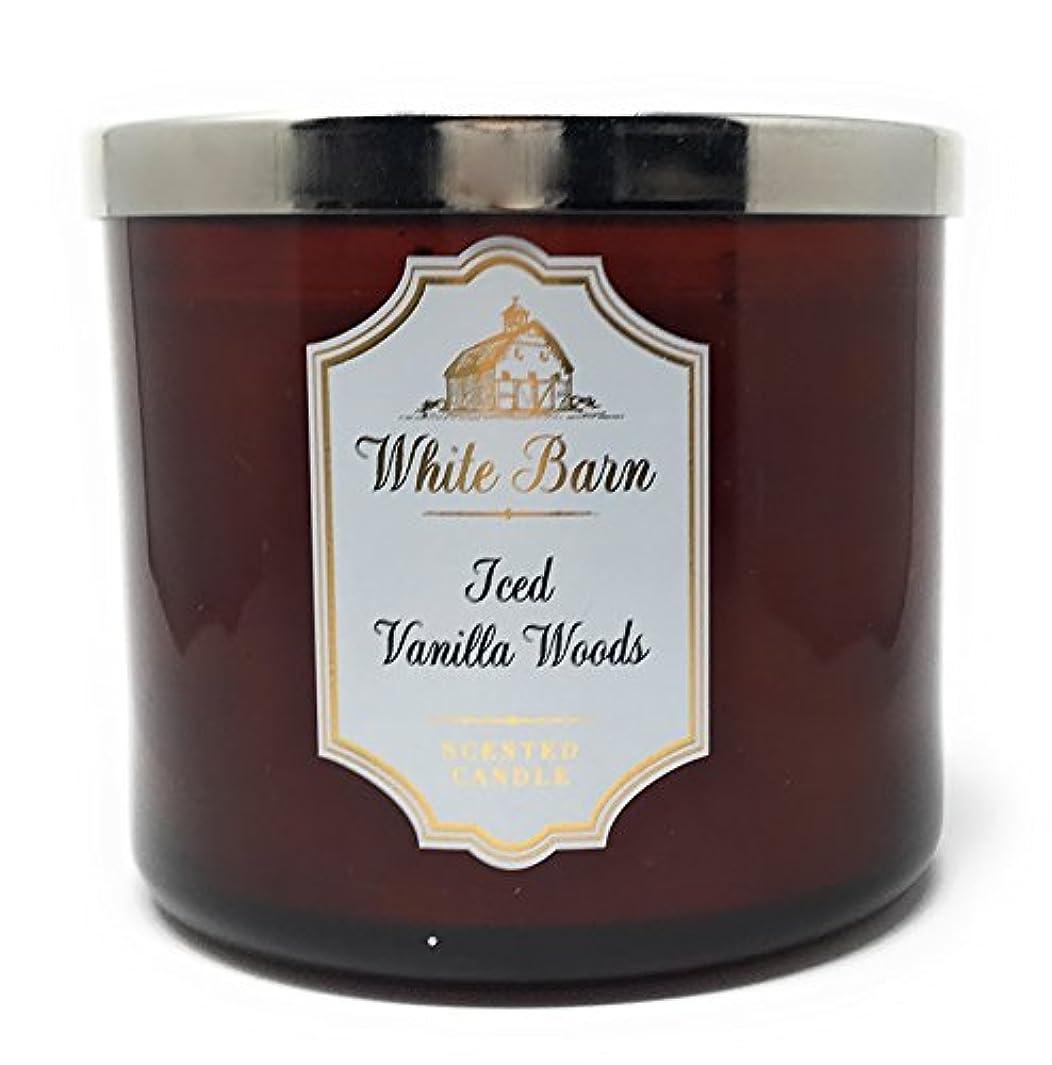 ブルバット矢印ホワイトバーンBath & Body Works Candle 3 Wick 14.5オンス香りIced Vanilla Woods