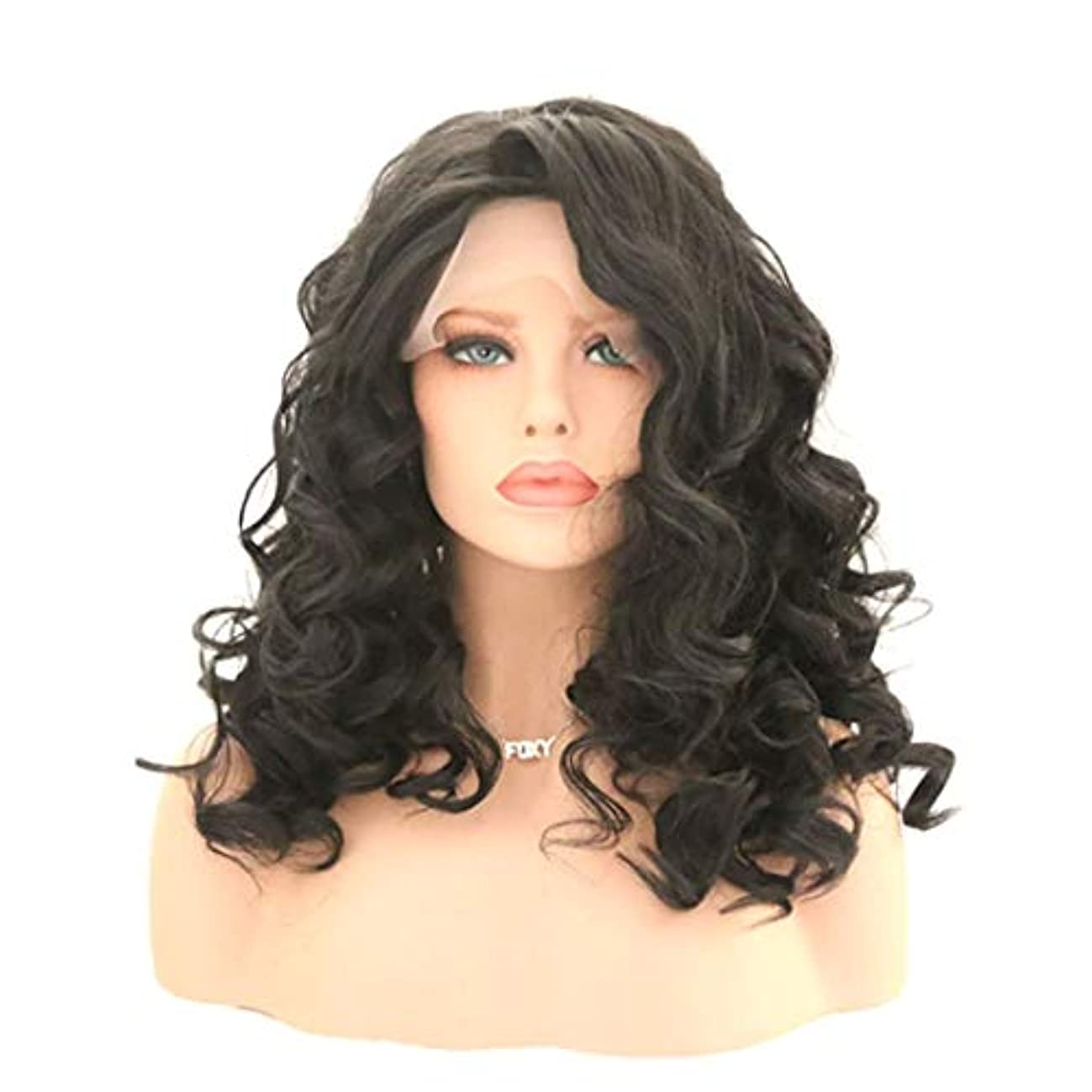 震えるつぶやき生息地Kerwinner 女性のためのカーリー波状かつら前髪付きかつら人工毛髪かつら自然なかつら (Size : 22 inches)