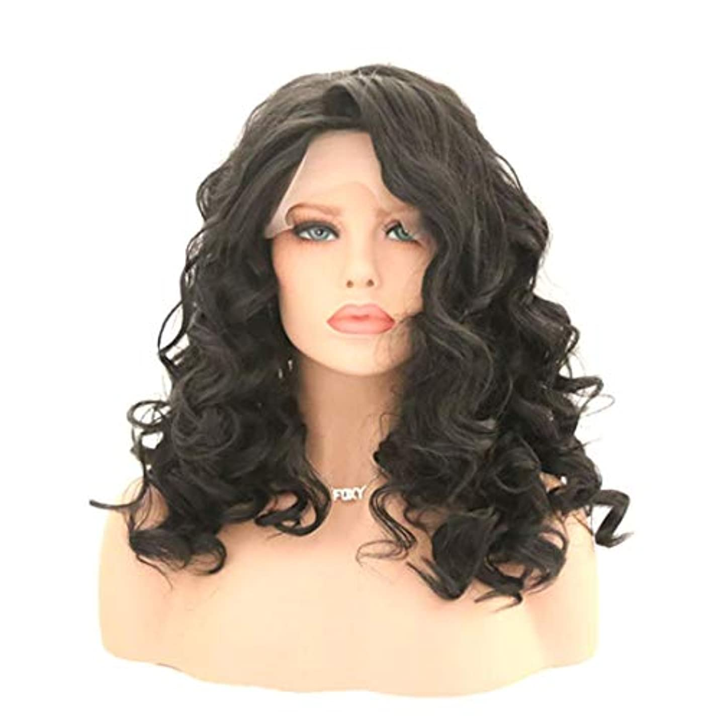 入るなめらか短命Kerwinner 女性のためのカーリー波状かつら前髪付きかつら人工毛髪かつら自然なかつら (Size : 22 inches)