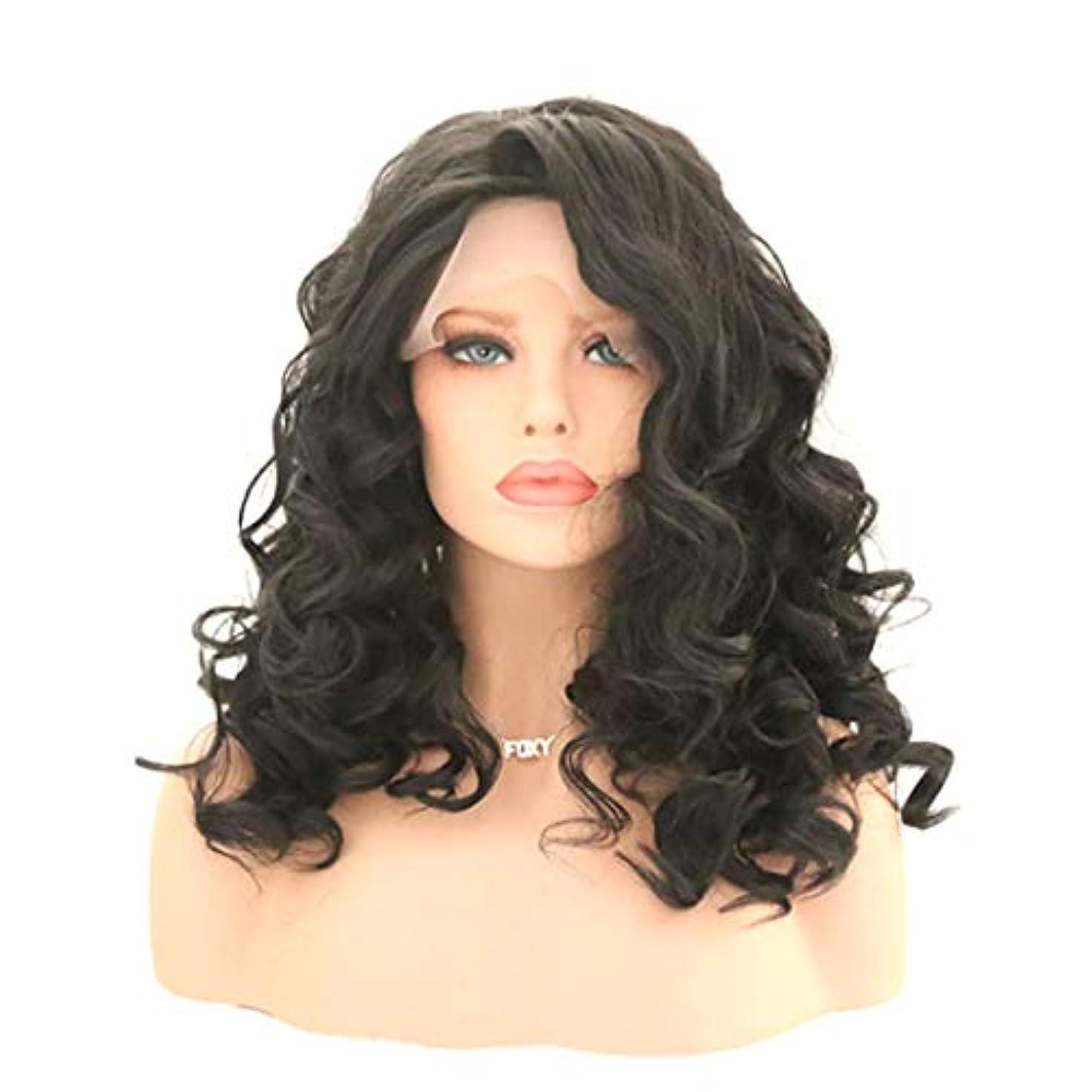 パステル偽造ペレットKerwinner 女性のためのカーリー波状かつら前髪付きかつら人工毛髪かつら自然なかつら (Size : 22 inches)