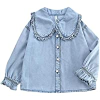Mornyray Little Babys Girls Autumn Long Sleeve Shirt Personality Wild Lace Large Lapel Casual Denim Shirt Elastic Cuffs Solid Color Babys Shirt Fashion Wild Girls Casual Daily Outfit
