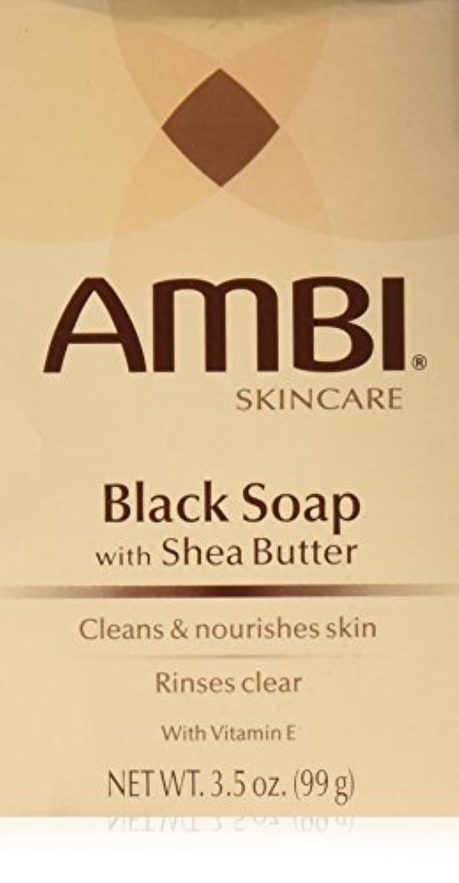 落胆する眩惑する年次AMBI シアバターでスキンケアブラックソープ、3.5オズ(2パック)