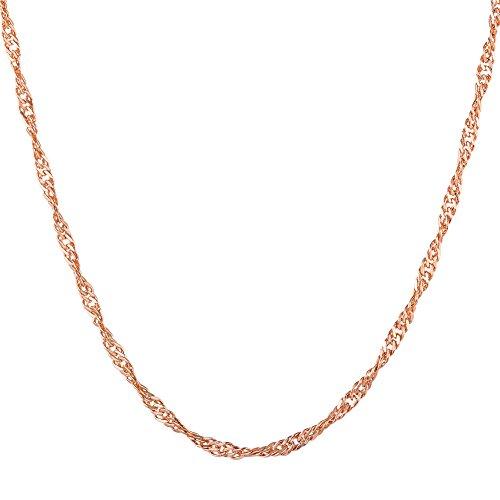 [해외]U7 스크류 체인 2mm 여성 목걸이 K18 골드 도금 펜던트 액세서리 55cm [N2567]/U7 screw chain 2mm ladies necklace K18 gold plated pendant accessories 55cm [N2567]