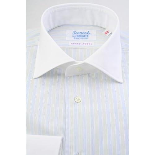 (スキャッティ) Scented 白地 ブルー オリーブイエロー ストライプ クレリック ワイドカラー (細身) ドレスシャツ wd4151-4386