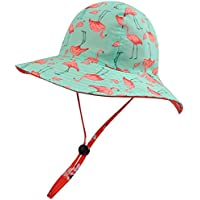 Mocinoキッズ 帽子ベビーハット 男の子 女の子 赤ちゃん UPF50+ UVカット つば広 日焼け止め かわい調節紐付き紫外線対策 夏 海遊び・外出・旅行 (フラミンゴ, 46.5cm) …