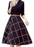 (リーベシオン)Liebetion ネイビー 紺 長袖 キレイ キレイメ カジュアル 結婚式 二次会 袖あり パーティー ドレス ワンピース レディース (M, ネイビー)…