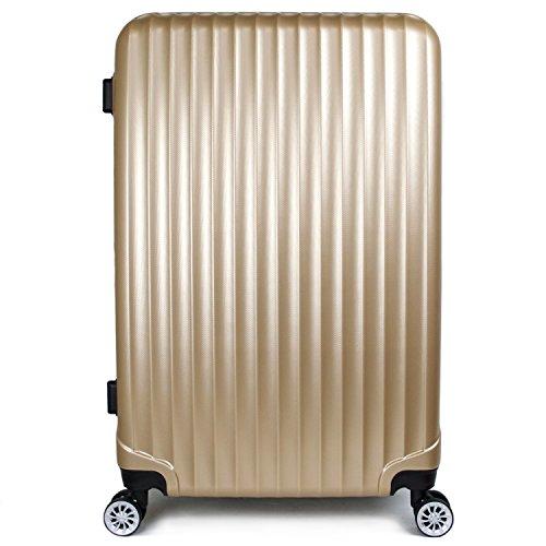 【神戸リベラル】 LIBERAL 軽量 S,M,Lサイズ スーツケース キャリーバッグ 容量アップ 8輪キャスター TSAロック付き (Lサイズ(長期用 85/95L), ゴールド)