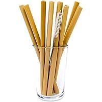 ストロー 木製 竹 8本セット アイス&ホット両用 オーガニック エコ 再利用 代替 洗浄ブラシ付き 袋入り