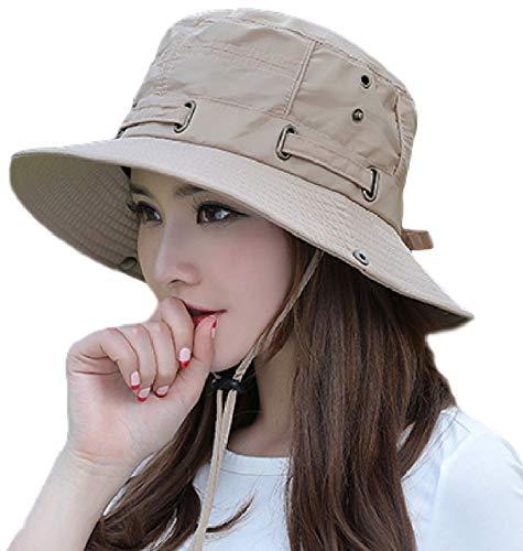 [ココマリ] サファリハット UVカット つば広 帽子 日除け 紫外線 日焼け 対策 ブーニー ハット 帽 アウトドア レディース (ベージュ)