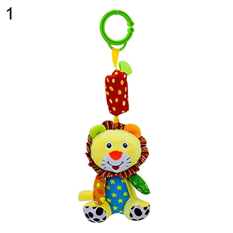 wanshenGyi ラトル おもちゃ 赤ちゃんのおもちゃ イラスト ライオン 象 キツネ アライグマ 動物 ラトル おもちゃ ベビーベッド プラム ハンギングドール - ゾウ ソフト&教育 Lion wanshenGyi