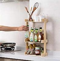 2-3層木製スパイスラック、ポータブルスパイスラックオーガナイザー、台所用品/ボトル/調味料/缶詰食品,19.09x5.9inch