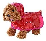 【全5色】 雨 でも お 散歩 犬 用 レイン コート クリア 透明 なので インナー 見せで 重ね着 も S M L XL (レッド, S)