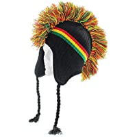 Milani Mohawk Styled Earflap Knit Beanie with Jacquard Print