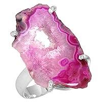 自然 フリース ピンク ジオード ・ ドゥルージー ・ ジェムス トーン スタイリッシュです ジュエリー 固体 925 スターリング シルバー リング 13