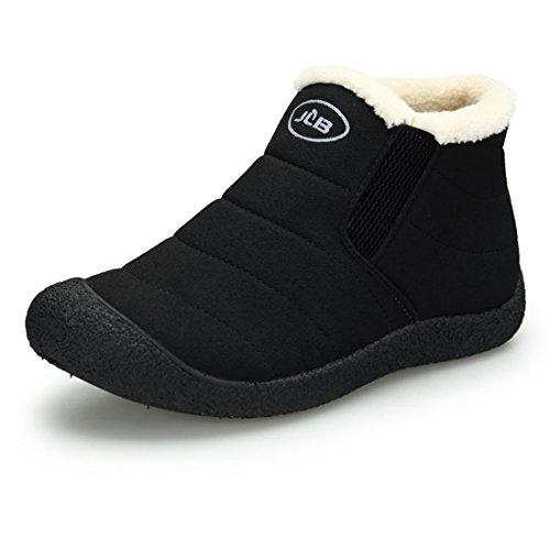 Sixspace スノーブーツ レディース/メンズ 防寒 防滑 ショートブーツ スノーシューズ 綿靴 雪靴 ブラック 27cm