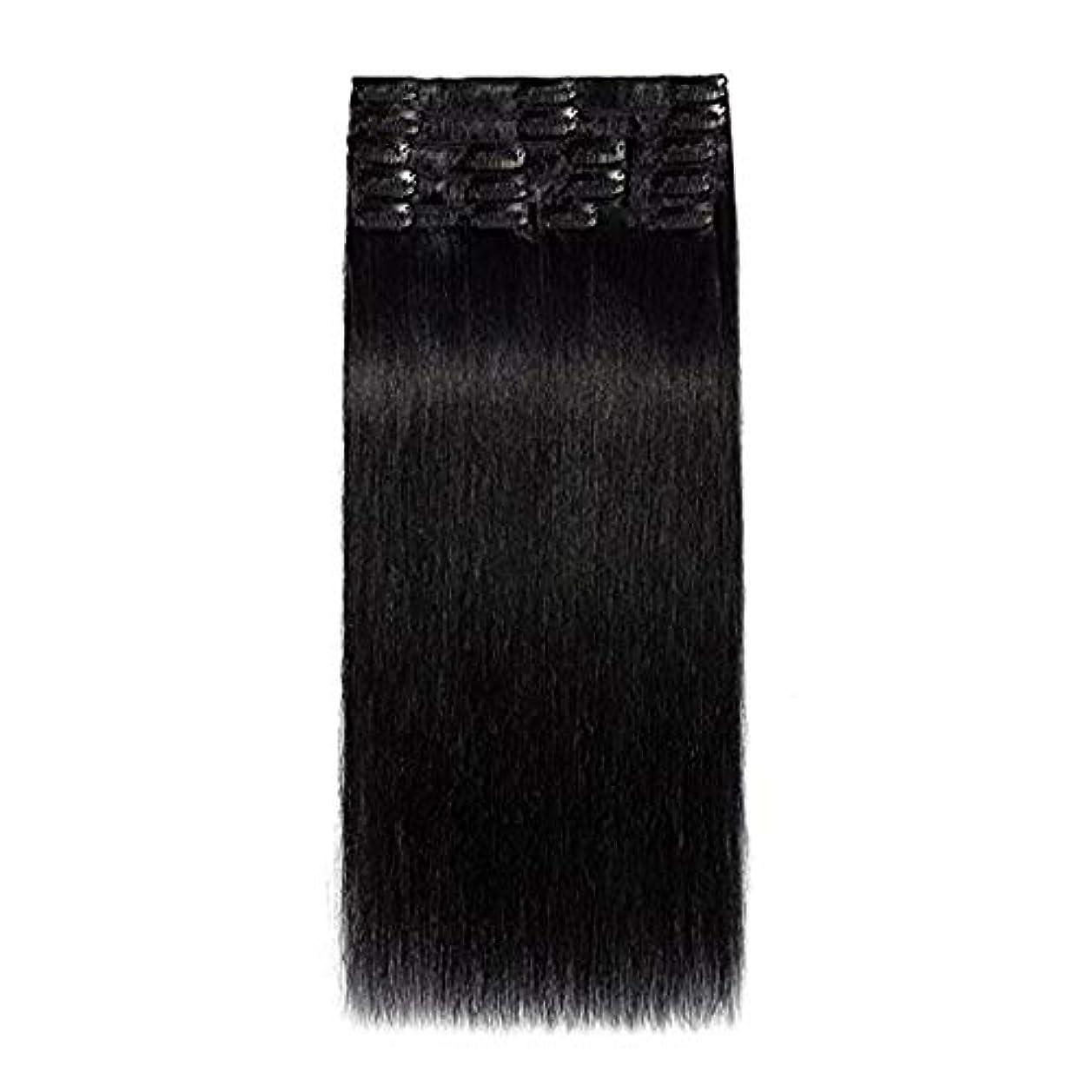 切るつかの間スペイン語WASAIO 人間のレミーヘアエクステンションクリップUnseamed髪型標準横糸クリップ - 8個のフルヘッドUnbowed 10「-28」 (色 : 黒, サイズ : 14 inch)