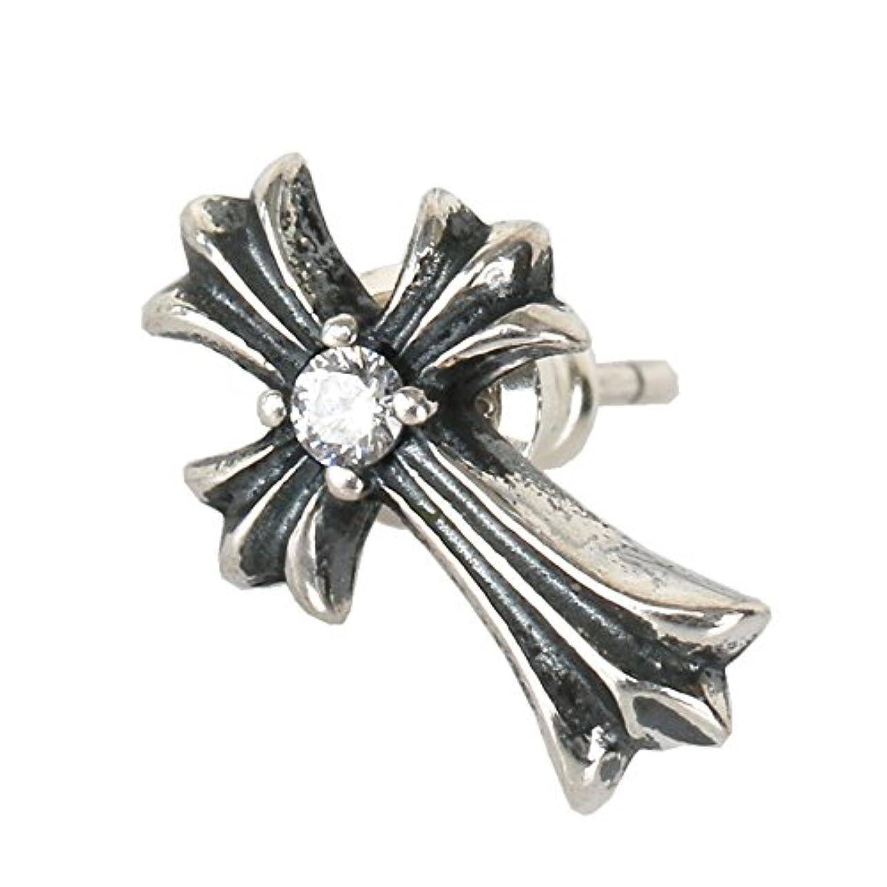 休憩するれる規範「silverKYASYA」シルバー925素材 クロスピアス スタッドピアス 925 ジルコニア 一粒 CZ 十字架 ピアス メンズ レデース 片耳