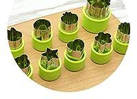 ステンレス鋼野菜と果物カビエンボス金型,緑の9点セット(保護ハンドル付き)