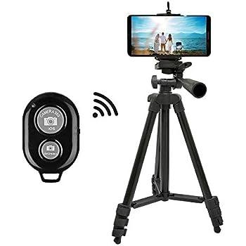 スマホ三脚 三脚 ビデオカメラ 超軽量 (2019新版) 4段三脚 360°回転可能 3WAY雲台 スマートフォン対応三脚 携帯便利 リモコン スマホホルダー付き