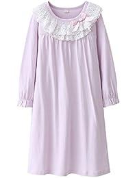 Masonanic 子供 ネグリジェ 綿100% レース ナイトドレス 半袖 or長袖 女の子 パジャマ ガールズ ワンピースパジャマ ルームウェア ナイトウェア