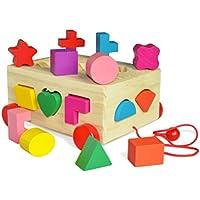 phalatina 木のおもちゃ 色彩 感覚 型はめ 積み木 知育 玩具 知性 想像 認知 形 合わせ 創造力 ロープ 引き車 パズル (積み木の車)